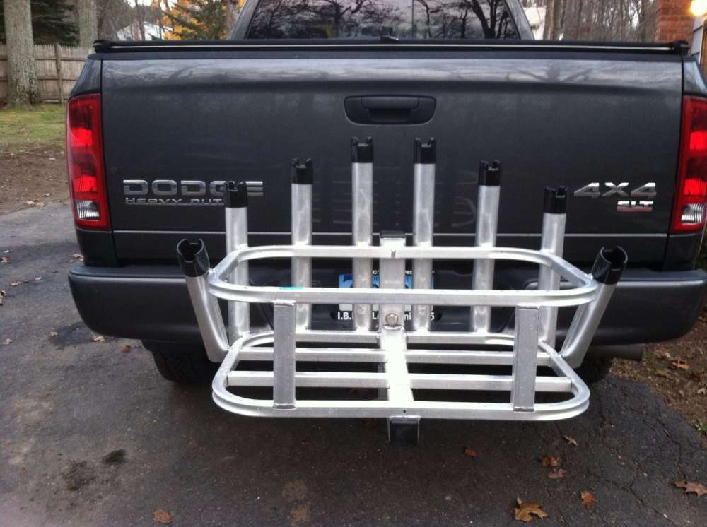 8 rod cooler rack for 2 hitch great for surf fishing for Hitch fishing rod holder