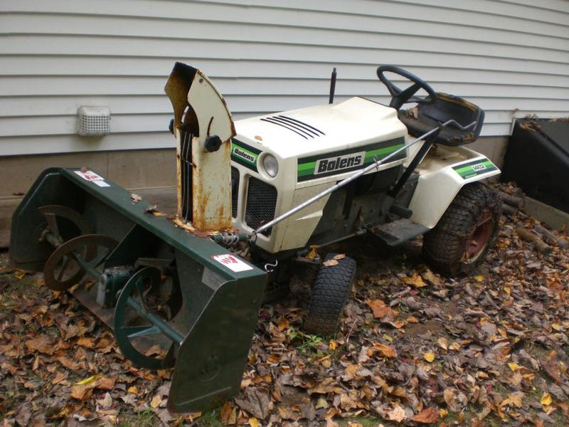 BOLENS 1402 lawn tractor with snowblower and grass deck